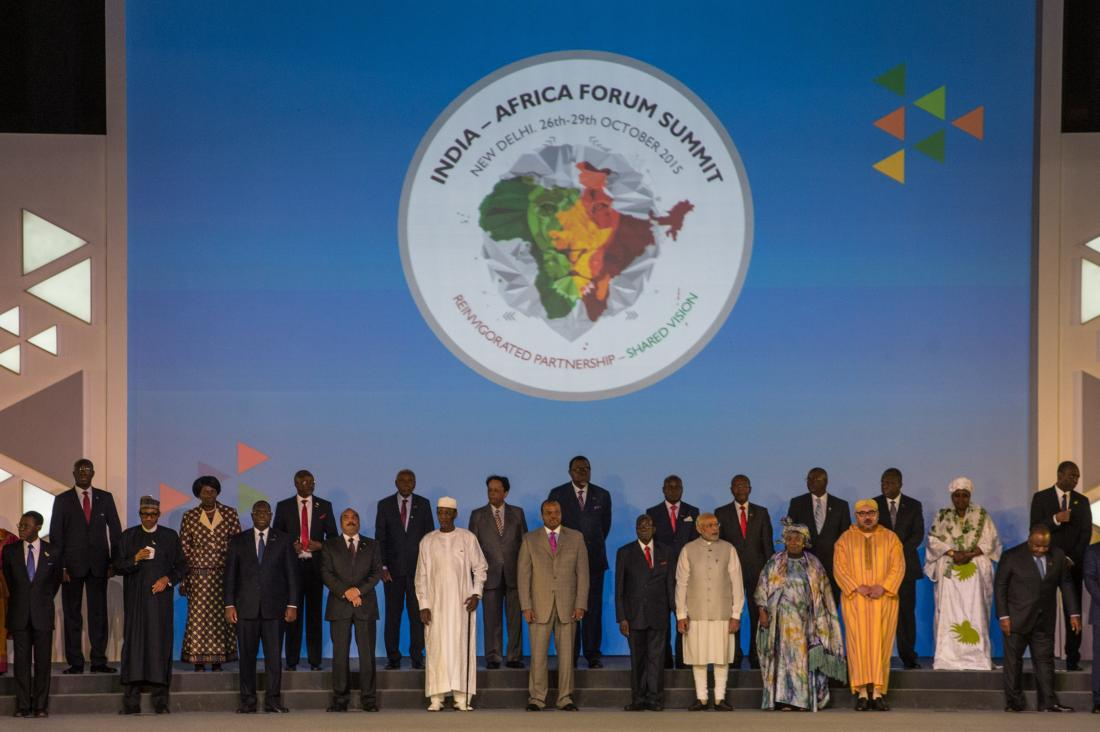 Indian Prime Minister Narendra Modi (9R) stands among other African Heads of State and representatives during a group photograph at the India-Africa Forum Summit in New Delhi on October 29, 2015.  Indian Prime Minister Narendra Modi will spell out his vision for the future of his country's economic relations with Africa, as he addresses the major India-Africa Forum Summit in New Delhi.  AFP PHOTO /ROBERTO SCHMIDT        (Photo credit should read ROBERTO SCHMIDT/AFP/Getty Images)